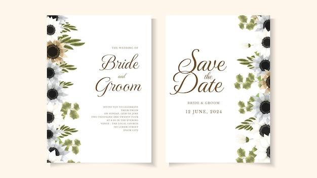 Invitación de boda rústica floral invitar gracias, tarjeta moderna de rsvp.