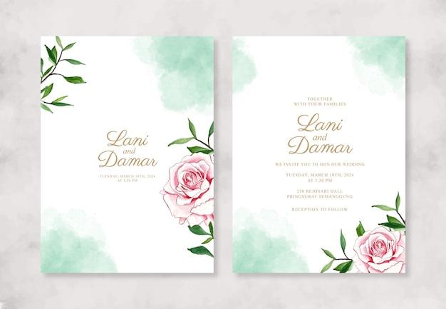 Invitación de boda con salpicaduras de acuarela y flor