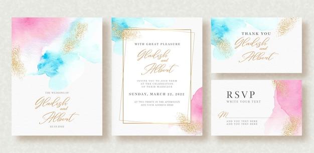 Invitación de boda con salpicaduras de colores pastel y brillo dorado