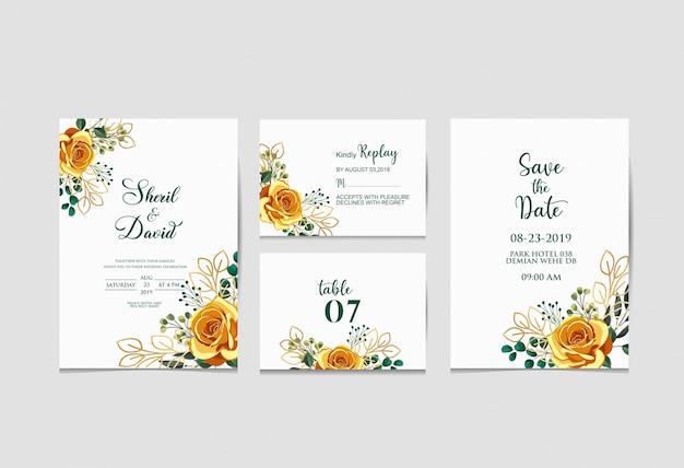 Invitación de boda set templete