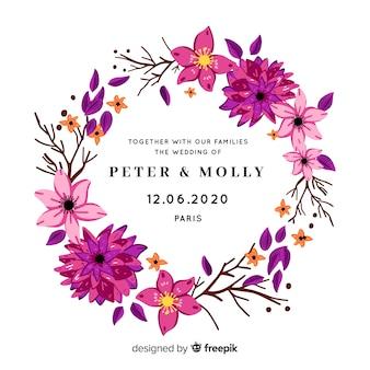 Invitación de boda simple con flores de color púrpura