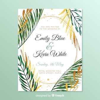 Invitación de boda simple con hojas de marco
