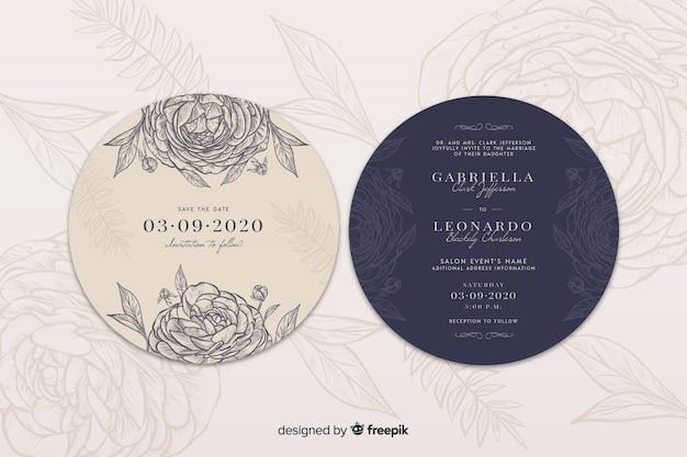 Invitación de boda simple con rosas dibujadas a mano
