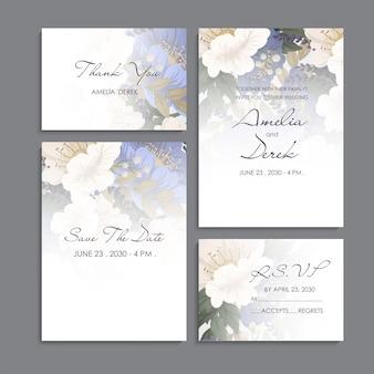 Invitación de boda, tarjeta de agradecimiento, guardar las tarjetas de fecha.