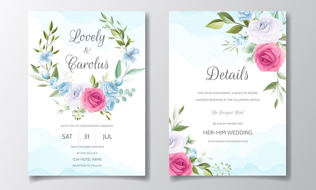Invitación de boda y tarjeta de invitación con hermosas rosas plantilla
