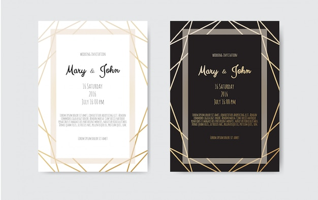 Invitación de boda, tarjeta de invitación con líneas de arte geométrico, borde de lámina dorada, marco.