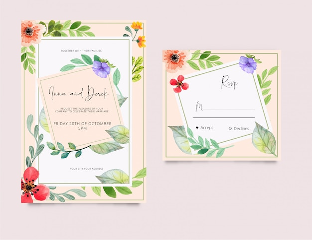 Invitación de boda tarjeta rsvp estilo acuarela