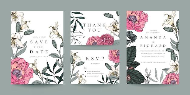 Invitación de boda, tarjeta de rsvp, plantilla de tarjeta de agradecimiento