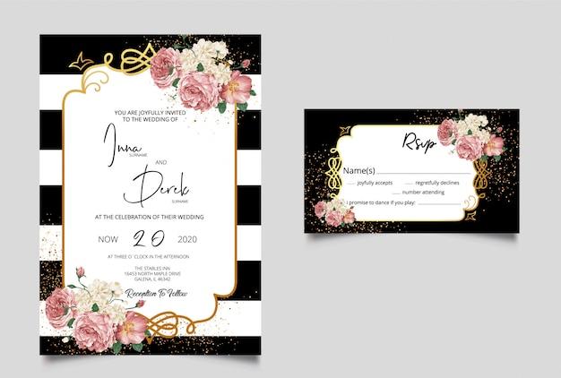 Invitación de boda con tarjeta rsvp