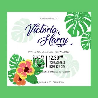 Invitación de boda tarjeta tropical