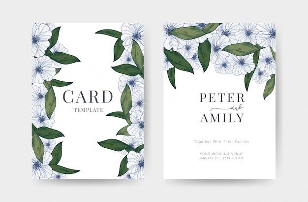 Invitación de boda tarjetas de plantilla de diseño