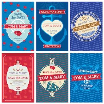 Invitación de boda tarjetas vectoriales con diseño náutico. anclas y olas, corazones y barcos.