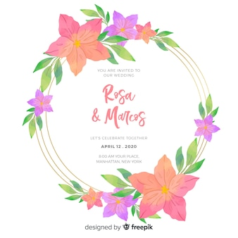 Invitación de boda con tema floral
