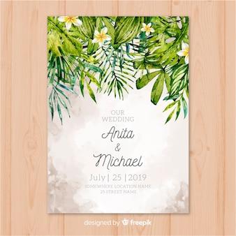 Invitación de boda tropical en acuarela