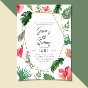Invitación de boda tropical con geométrica