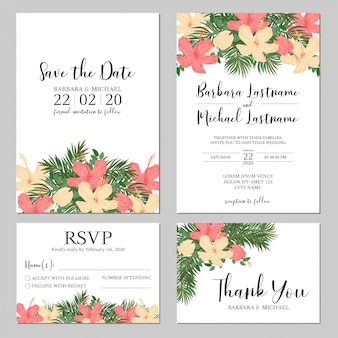 Invitación de boda tropical de hibisco y palma
