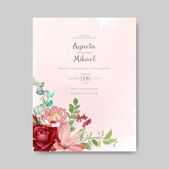 Invitación de boda con vector de bella flor para imprimir