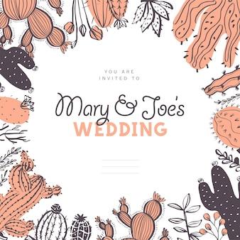 Invitación de boda de vector, tarjeta, plantilla de diseño de etiqueta - lugar de texto, marco con cactus, ramas, arreglos de elementos florales aislados sobre fondo blanco. estilo de boceto dibujado a mano.