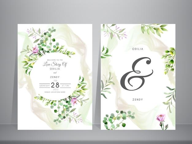 Invitación de boda con vegetación floral acuarela y fondo abstracto