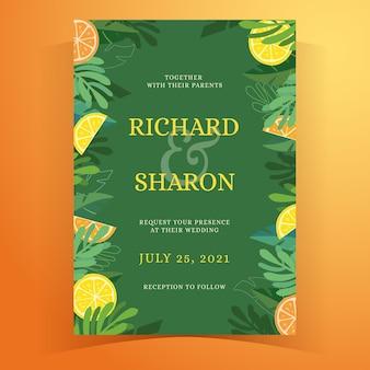 Invitación de boda de verano tropical