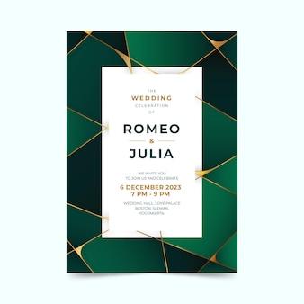 Invitación de boda verde geométrica degradada con espacio de texto cuadrado