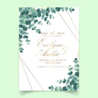 Invitación de boda verde con hojas de eucalipto.