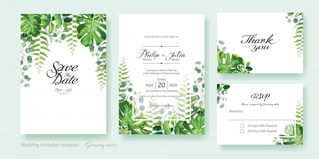 Invitación de boda verde