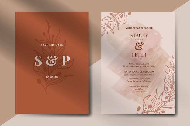Invitación de boda vintage abstracto con hojas