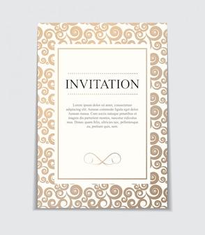 Invitación de boda vintage con arco y cinta plantilla i