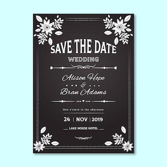 Invitación de boda vintage con borde floral