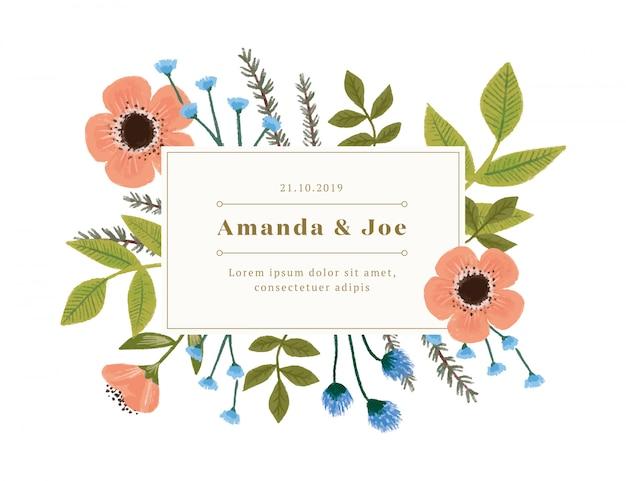 Invitación de boda vintage con decoraciones florales.