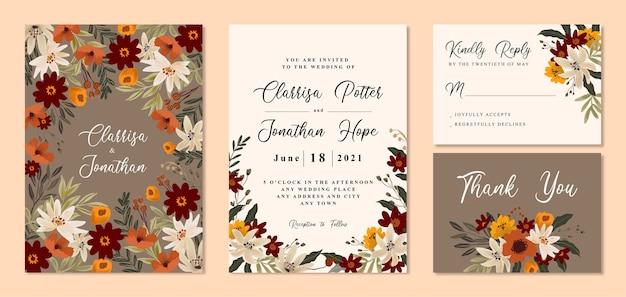 Invitación de boda vintage con flores cálidas y marrones