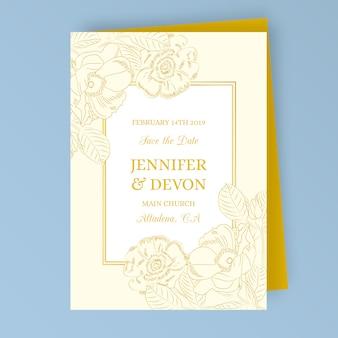 Invitación de boda vintage con flores doradas