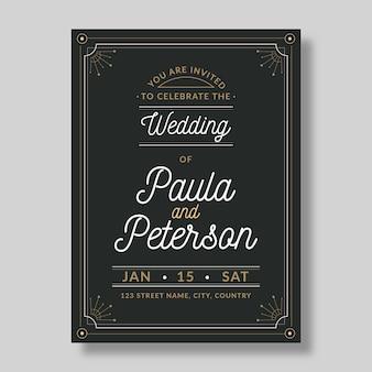 Invitación de boda vintage hermosa