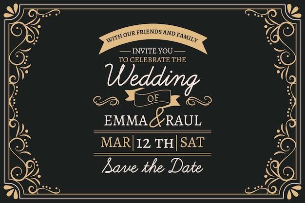 Invitación de boda vintage con letras encantadoras