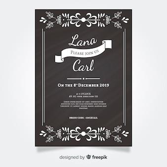 Invitación de boda vintage en pizarra