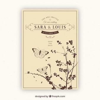 Invitación de boda vintage con plantas y mariposas
