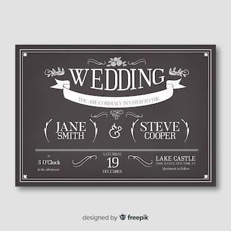 Invitación de boda vintage en plantilla de pizarra