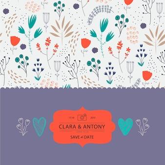 Invitación de boda vintage, tarjeta retro con flores
