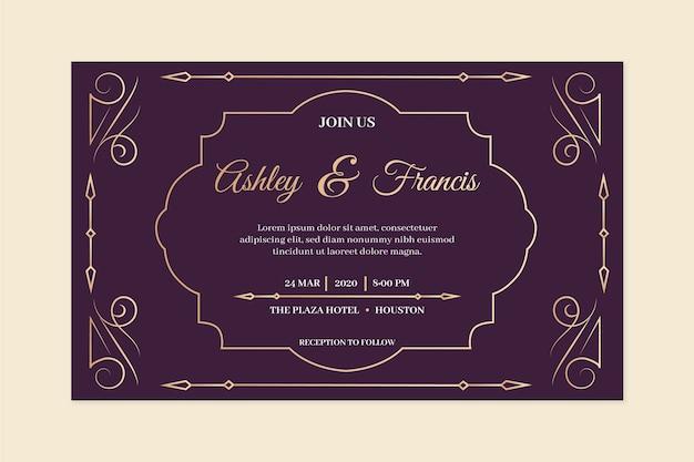 Invitación de boda vintage en tonos violetas