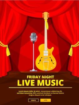 Invitación de cartel en concierto de música en vivo. imagen de micrófono retro y guitarra acústica. cartel de concierto invitación a música en vivo ilustración