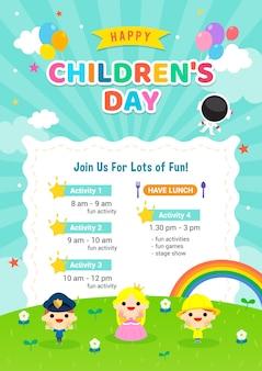 Invitación del cartel del día del niño feliz
