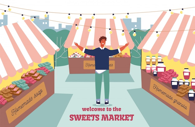 Invitación cartel plano de bienvenida al mercado callejero