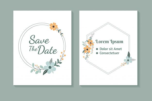 Invitación de celebración de boda de diseño de marco de flor de portada