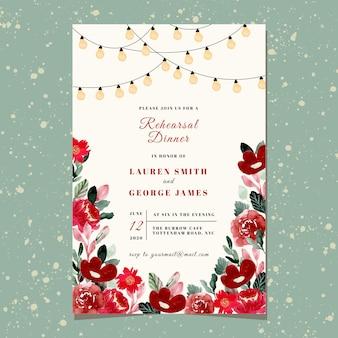 Invitación a la cena de ensayo con luz de cuerda y acuarela floral roja