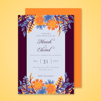 Invitación colorida de la boda