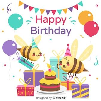 Invitación colorida feliz cumpleaños
