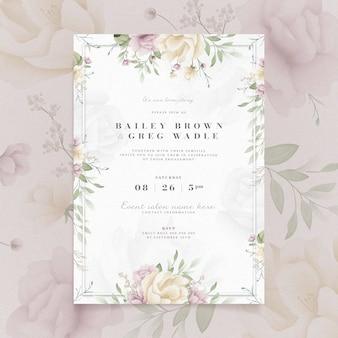 Invitación de compromiso con diseño floral