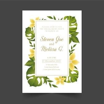 Invitación de compromiso con flores