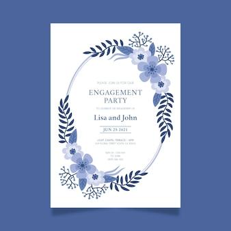 Invitación de compromiso con motivos florales.